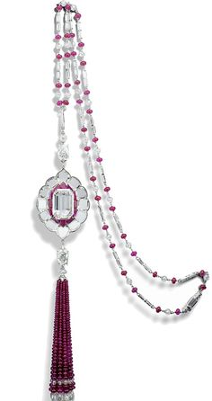 An exceptionally rare D - colour, - carat, internally flawless, certified type IIa diamond necklace. It's set in a diamond-and-ruby sautoir by jewelry designer, Viren Bhagat. Ruby Necklace, Ruby Jewelry, Tassel Jewelry, High Jewelry, I Love Jewelry, Gemstone Jewelry, Jewelry Necklaces, Emerald Earrings, Tassel Necklace