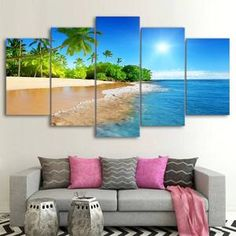 Tropical Beach 5 Panel Canvas Print Wall Art - Extra Large Unframed (Canvas Only) Beach Canvas Wall Art, Tree Canvas, Framed Canvas, Canvas Art, Ocean Canvas, Canvas Paintings, Plage Art Mural, Reproductions Murales, Wall Art Prints