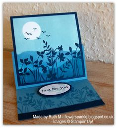 Flower Sparkle: Two Blue Brayered Scene Easel Cards