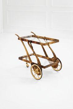 Aldo Tura, Parchment and Brass Bar Cart, c1950.