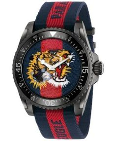 199fe4ade26 Gucci Unisex Swiss Le Marche Des Merveilles Blue and Red Nylon Strap Watch  45mm YA13621 -