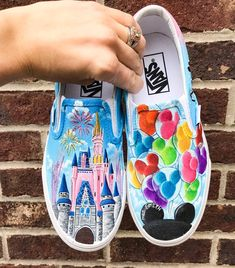 Disney Castle and Mickey Balloons Custom Vans Shoes, Custom Painted Shoes, Painted Vans, Hand Painted, Disney Vans, Disney Shoes, Disney Mickey, Mickey Mouse, Disney Outfits