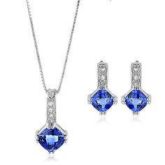 Top Fifth Wedding Anniversary Gifts That Will Make Her Swoon — Kathln. Sapphire Necklace & Earrings Set. Sapphire is the gemstone for a 5th anniversary.