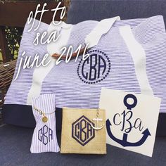 Libby & Dot Collections: Boutique Clothing and Monograms - Favorite nautical monogram box!  Seersucker monogram tote bag, anchor monogram bracelet, monogram burlap cooler for cans and a decal LOVE SUMMER!