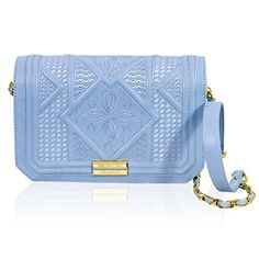 Valentino Orlandi Italian Designer Baby Blue Geometric Leather Shoulder Bag
