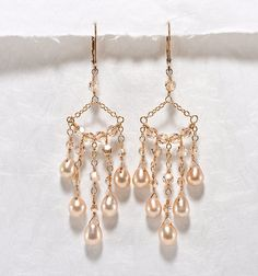 Crystal Chandelier Earrings, Champagne Wedding Jewelry, Crystal, Pearl Chandelier Bridal Earrings Gold