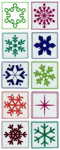 Snowflake Quilt Blocks Embroidery Machine Design Details
