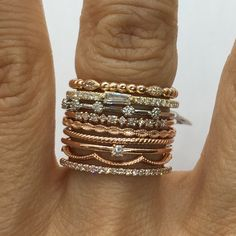 Luxinelle 6 Diamond Spaced Band in White, Yellow Or Rose Gold - Diamond Stacking Ring by Luxinelle® Jewelry Gold Diamond Wedding Band, Diamond Bands, Gold Bands, White Gold Rings, White Gold Diamonds, Rose Gold, Silver Rings, Vintage Engagement Rings, Diamond Engagement Rings