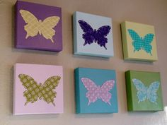 Set of 6 Butterfly Wall Art on etsy... diy it with canvas and scrapbook paper
