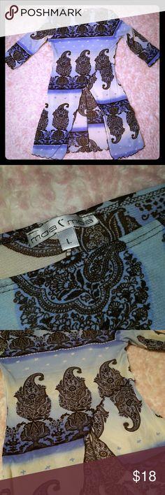 Moa Moa Top Paisley, blue, brown stretch material. Moa Moa Tops