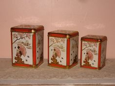 Vintage Asian Inspired Nesting Tins / Canister set by Fannypippin,