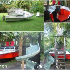 Old Boat Repurposed Into Kids Playhouse