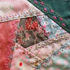 I ❤ crazy quilting & embroidery . . . March block for CQJP 2013 ~By Hideko Ishida