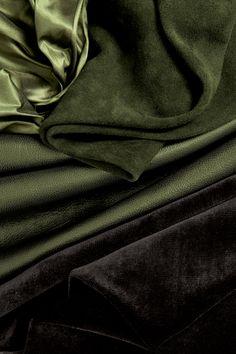 Holly Hunt Green leather & fabrics