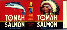 Tomah Alaska Salmon can label Native American by LABELSTONE, $8.95