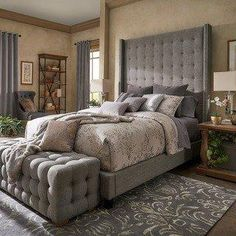 Naples Wingback Button Tufted High Headboard Platform Bed by iNSPIRE Q Artisan (King Size - Dark Grey Linen), Black size bed Bedroom Furniture Stores, Furniture Deals, Bed Furniture, Bedroom Decor, Furniture Outlet, Online Furniture, Bedroom Ideas, Dark Furniture, Furniture Websites