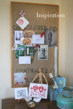 Coffee sack covered pinboard