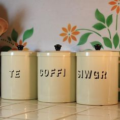 Te, Coffi & Siwgr Tins - Vintage Style for tea, coffee and sugar
