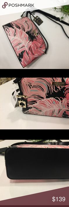Kate Spade floral Hanna crossbody Kate Spade Hanna crossbody. Beautiful pattern design on patent leather and exclusive lining inside. Adjustable crossbody strap. Gold hardware. Inside pocket. No trades. kate spade Bags Crossbody Bags