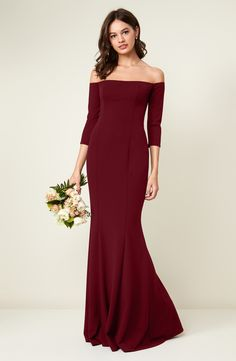 94bf12d83a Brentwood Three-Quarter Sleeve Off the Shoulder Gown