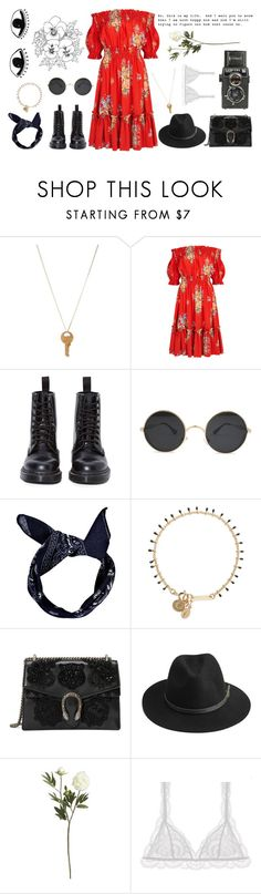 """Red 1/3"" by seetheotheroceans ❤ liked on Polyvore featuring The Giving Keys, Alexander McQueen, Dr. Martens, Boohoo, Isabel Marant, Gucci, BeckSöndergaard, Crate and Barrel, Wallflower and Eberjey"