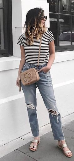 top + bag + ripped jeans