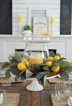 Simple summer decoration home tour Decoration idea: Do you need a centerpiece quickly?, Simple summer decoration home tour Decoration idea: Do you need a centerpiece quickly? Use a cake plate, like this vintage frosted glass base that I t. Summer Decoration, Decoration Table, Dining Room Centerpiece, Summer Mantle Decor, Summer Table Decorations, Summer House Decor, Farm Table Decor, Farmhouse Table Centerpieces, Christmas Decorations