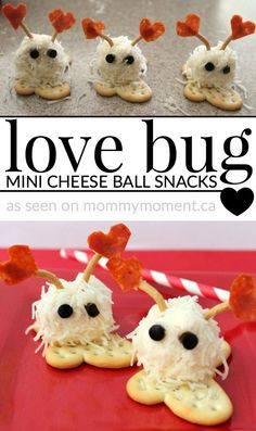 These love bug mini cheese balls make such an adorable treat for kids. They are … These love bug mini cheese balls make such an adorable treat for kids. They are perfect for Valentine's Day or any special day. Kinder Valentines, Valentine Activities, Valentines Day Treats, Valentine Day Crafts, Valentine Food Ideas, Valentine Cupcakes, Valentine Recipes, Heart Cupcakes, Valentine Party