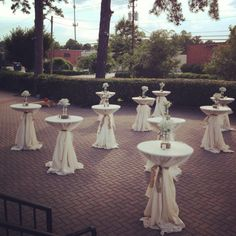 Outdoor cocktail tables with tulle overlays, burlap ties and baby's breath centerpieces atop a wood slab, perfect rustic chic High Top Tables, Bar Tables, 60th Anniversary Parties, Party Layout, Phuket Wedding, Wedding Decorations, Table Decorations, Centerpieces, Wedding Table