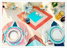 geometric tablescape and dishes- southwest/boho wedding