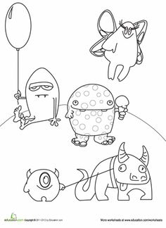 Monster Coloring Pages Classroom Monsters Pinterest