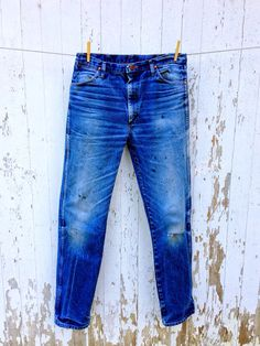 Vintage Wrangler Jeans Whiskered Broken In 34 Waist by HuntedFinds