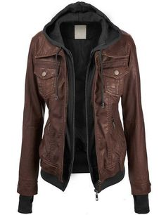Womens leather jacket Zippered midsection Fleece inner with hoodie Four pockets: two chest, two side 100% genuine leather Soft, supple leather This womens leather jacket is perfect for those cold long