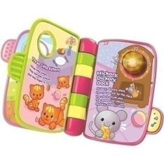 """Vtech Storytime Rhymes - Teaches First Words, Animals, Nursery Rhymes by Vtech. $27.99. Includes 5 sing-along nursery rhymes. Sing-along mode or storytelling mode. Teaches children about animals and their sounds. Dimensions: 1.8""""L x 8""""W x 8.5""""H. The VTech Storytime Rhymes Book is a delightful addition to a child's library that features classic nursery rhymes. With every flip of the easy-to-turn pages, your child can sing along with a favorite nursery rhyme or look at th..."""