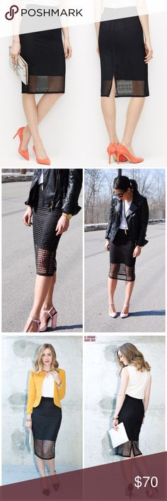 Ann Taylor Women's Black Mesh Pencil Skirt Black Mesh Pencil Skirt NWT Condition. Pics are from  bloggers that have perfectly styled this beauty. Ann Taylor Skirts