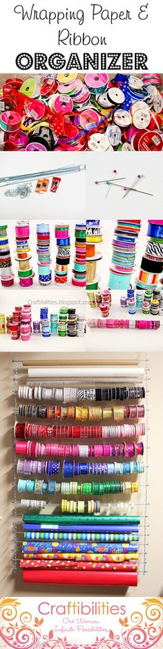DIY ribbon and wrapping paper organizer/station. Great way to use space in a small craft room