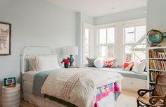 Terrat Elms Interior Design - bedrooms - Benjamin Moore - Sweet Bluette - kids window seat, built in bay window seat, Girl Bedroom Designs, Girls Bedroom, Bedroom Decor, Bedrooms, Childs Bedroom, Design Bedroom, Bedroom Ideas, Blue Painted Walls, Blue Walls