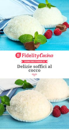 Delizie soffici al cocco Sweets Recipes, Cake Recipes, Cooking Recipes, Coconut Flour Recipes, Low Calorie Desserts, Donuts, Cheesecake Cupcakes, Pie Cake, Italian Desserts