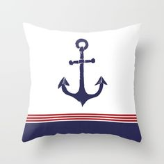 Nautical Anchor - Red, White and Blue Throw Pillow