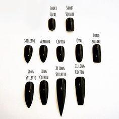 Which nail is your style? Always black of course! #nails #blacknails #stilettonails #coffinnails #altclothing #altgirl #style #fashion #black #pretty #iloveblack #elegant #punkclothing #blackclothing #gothicfashion #allblack #loveblack #darkglamour #missblacksole #allblackeverything #altstyle#alternative#darkbeauty #chic #decadence #gothic #weird #nailstyles