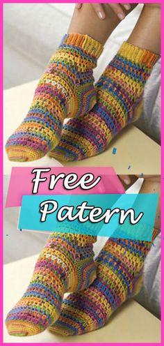 Crochet Sock Pattern Free, Crochet Baby, Free Crochet, Knit Crochet, Crochet Patterns, Free Pattern, Crochet Shoes, Crochet Slippers, Crochet Clothes