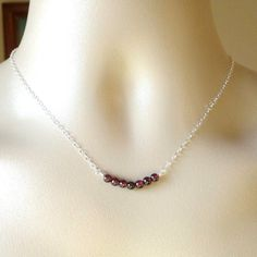 Silver Garnet Necklace - January Birthstone Jewelry  - Tiny Sterling Silver Curved Bar Gemstone Necklace - Gemstone Necklace - Mothers Day by WanderingDandelion on Etsy https://www.etsy.com/listing/183706177/silver-garnet-necklace-january