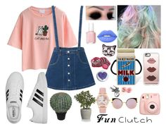 """""""Fun Clutch"""" by ashleyefrase ❤ liked on Polyvore featuring WithChic, adidas, Fujifilm, Fendi, Casetify, Crate and Barrel, Abigail Ahern, Lime Crime, Mulberry and Essie"""