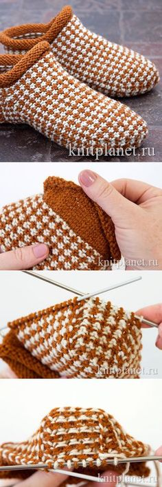 Knitting Patterns Slippers The board, a tricot edge that curls itself, I find genius! The link leads to a site in h . Knitted Slippers, Crochet Slippers, Knit Crochet, Knitting Socks, Hand Knitting, Knitting Machine, Knitting Designs, Knitting Projects, Knit Shoes