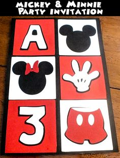 Birthday Party : Image : Description We love how our Mickey Mouse Party Invitations turned out! Made with craft paper and a Cricut cutting machine, we Mickey Mouse Birthday Invitations, Mickey Mouse 1st Birthday, Party Invitations, 31 Birthday, Invitation Maker, Business Invitation, Invitation Wording, Birthday Cards, Birthday Parties