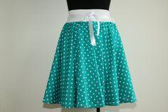 Rockabilly skirt, green skirt, polka dot skirt, summer skirt, women skirt, full circle skirt, elastic waist skirt, knee length skirt by ElzahDesign on Etsy
