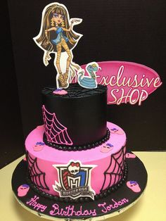 Black and pink Cleo inspired Monster High cake from Exclusive Cake Shop