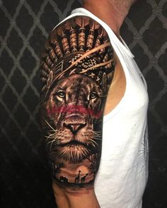 Lion Tattoo Art that will blow your mind! Below, we are going to mention lion Indian tattoo designs and ideas. Now you should scroll down to see all ideas that we've collected for you. Lion Tattoo Sleeves, Best Sleeve Tattoos, Tattoo Sleeve Designs, Tattoo Designs Men, Lion Head Tattoos, Mens Lion Tattoo, Leg Tattoo Men, Tatoos, Indian Headdress Tattoo