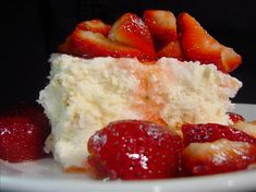 The Ultimate Strawberry Shortcake-base is angel food cake, cream cheese, powdered sugar  whipped topping. YUM!!!