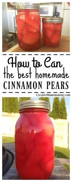 Can Cinnamon Pears Adding red hots to canned pears gives fresh pears a nice cinnamon twist.Adding red hots to canned pears gives fresh pears a nice cinnamon twist. Pressure Canning Recipes, Canning Tips, Home Canning, Pressure Cooking, Canning Pears, Canning Pickles, Canning Blackberries, Canning Food Preservation, Preserving Food